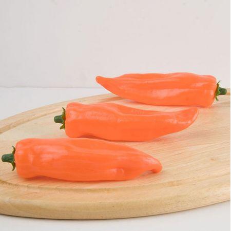 Σετ 3τμχ Διακοσμητικές πιπεριές Φλωρίνης - απομίμηση Πορτοκαλί 16x9cm