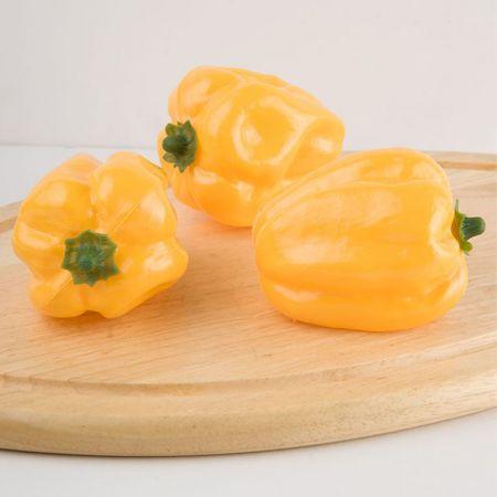Σετ 3τμχ Διακοσμητικές πιπεριές - απομίμηση Κίτρινες 11x9cm