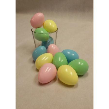 Σετ 12 τεμαχίωνπολύχρωμα αυγά ολόκληρα, κατασκευασμένα από πλαστικό.