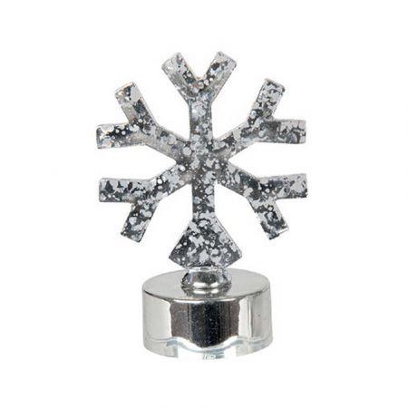 LED ρεσό μπαταρίας - Νιφάδα Ασημί / θερμό λευκό LED 6x6x8,5cm