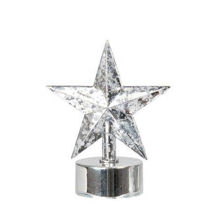 LED ρεσό μπαταρίας - Αστέρι Ασημί / θερμό λευκό LED 7x7x9cm