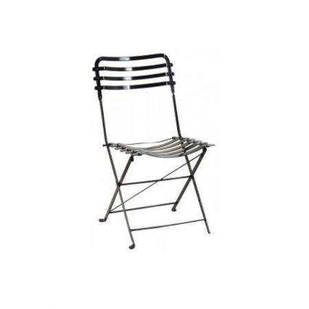 Διακοσμητική καρέκλα πτυσσόμενη γαλβανιζέ Μαύρη 43x57x83cm