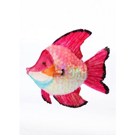 Διακοσμητικό τροπικό ψάρι με παγιέτες Φούξια 26cm