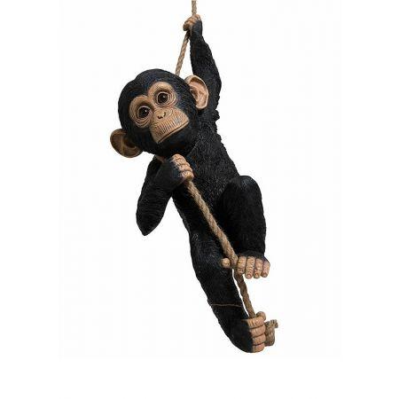Διακοσμητικός χιμπατζής που κρέμεται από σχοινί, 54x20x20 cm