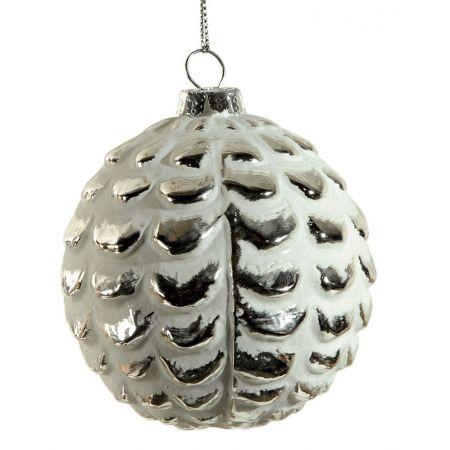 Χριστουγεννιάτικη μπάλα γυάλινη ανάγλυφη Λευκή 8cm