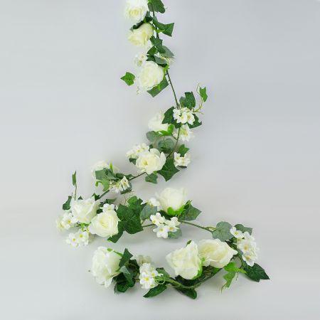 Διακοσμητική γιρλάντα με λευκά άνθη και φύλλα 190 cm
