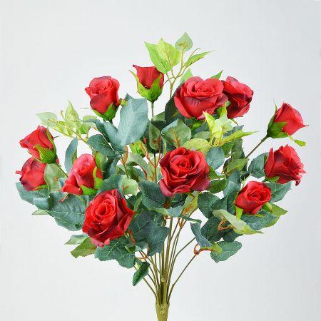 Διακοσμητικό μπουκέτο με κόκκινα τριαντάφυλλα 45cm
