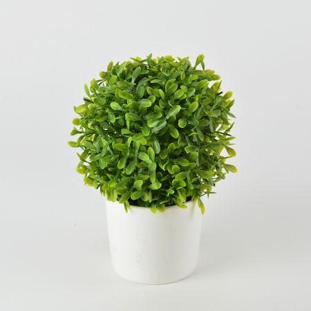 Διακοσμητικό γλαστράκι με τεχνητό φυτό πυξάρι 18cm