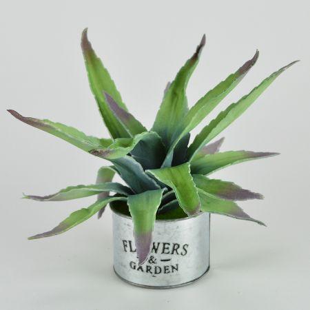 Τεχνητό φυτό Αλόη σε μεταλλικό γλαστράκι 25cm