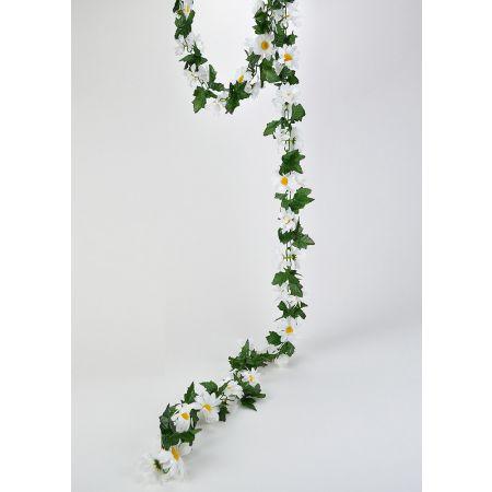 Διακοσμητική ανοιξιάτικη γιρλάντα με φύλλα και μαργαρίτες 230cm