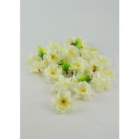 Σετ 50 μικρά διακοσμητικά άνθη αμυγδαλιάς κατασκευασμένα από ύφασμα.