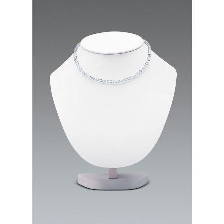 Μπούστο παρουσίασης για κολιέ 22cm-Λευκή Δερματίνη