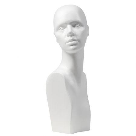 Διακοσμητικό γυναικείο κεφάλι φελιζόλ - μπούστο Λευκό 52cm