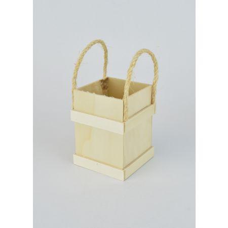 Διακοσμητικό Κουτί Ξύλινο με Χερούλια 8.5x8.5x10.5cm