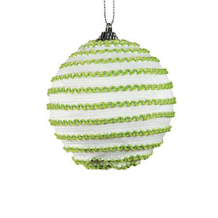 Διακοσμητική Χριστουγεννιάτικη μπάλα πράσινο-λευκό , 8 cm
