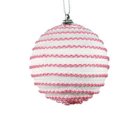 Διακοσμητική Χριστουγεννιάτικη μπάλα ροζ - λευκό, 8 cm