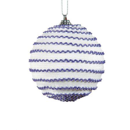 Διακοσμητική Χριστουγεννιάτικη μπάλα μωβ - λευκό, 8 cm