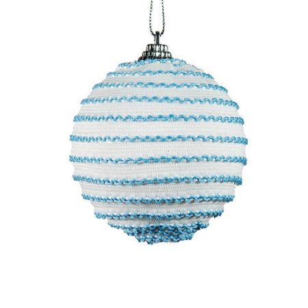 Διακοσμητική Χριστουγεννιάτικη μπάλα μπλε - λευκό , 8 cm
