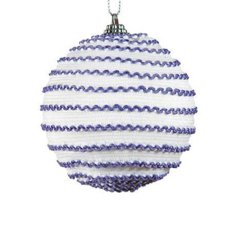 Διακοσμητική Χριστουγεννιάτικη μπάλα μωβ - λευκό , 10 cm