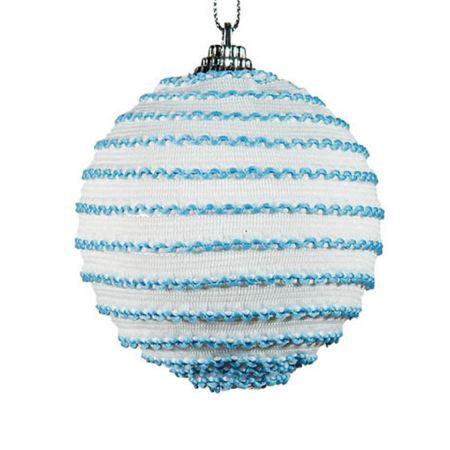 Διακοσμητική Χριστουγεννιάτικη μπάλα μπλε - λευκό , 10 cm