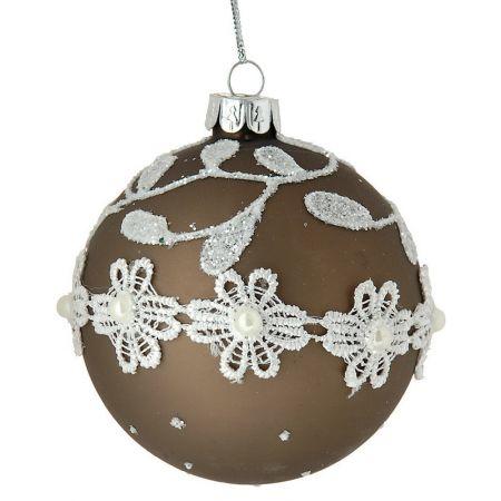 Χριστουγεννιάτικη μπαλα γυάλινη με κέντημα Καφέ 10cm