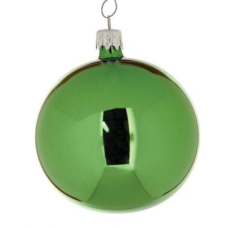 Χριστουγεννιάτικη μπάλα γυάλινη Πράσινη γυαλιστερή 8cm