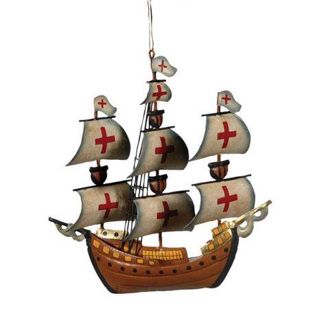 Διακοσμητικό Χριστουγεννιάτικομεταλλικό στολίδι πειρατικό καράβι.