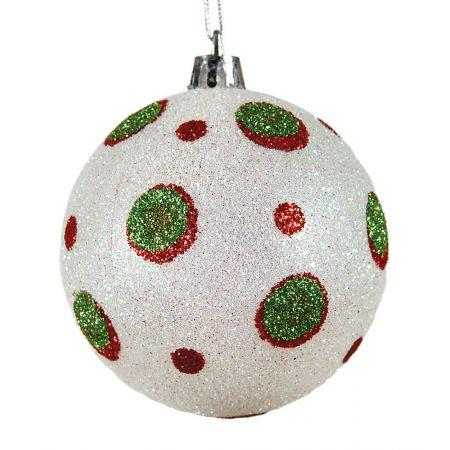 Χριστουγεννιάτικη μπάλα πλαστική με glitter 10cm