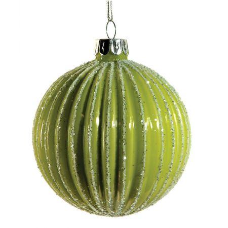Χριστουγεννιάτικη μπάλα γυάλινη Λαχανί 10cm