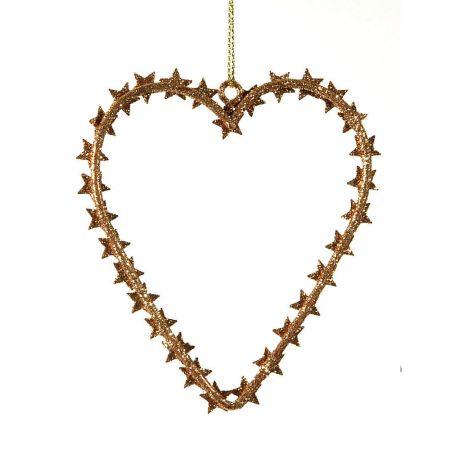 Διακοσμητική κρεμαστή καρδιά Χριστουγέννων, χάλκινη 10x10 cm