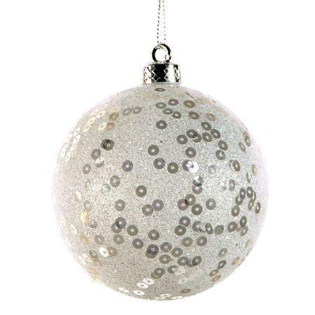 Χριστουγεννιάτικη μπάλα πλαστική με πούλιες Λευκή 10cm