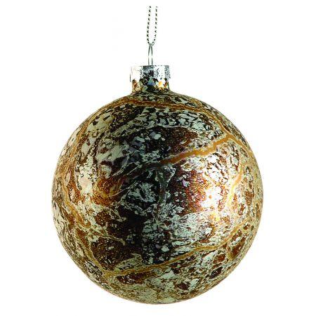 Χριστουγεννιάτικη μπάλα γυάλινη Χάλκινο - Ασημί 10cm