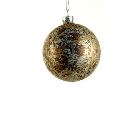 Χριστουγεννιάτικη μπάλα, γυάλινη Χάλκινη 8cm