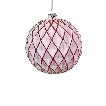 Χριστουγεννιάτικη μπάλα γυάλινη κυψελωτή Λευκή-Κόκκινη 10cm
