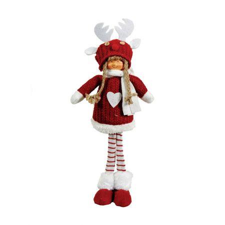 Χριστουγεννιάτικο διακοσμητικό λούτρινο κοριτσάκι κόκκινο 13x10x38cm