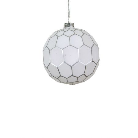 Χριστουγεννιάτικη μπάλα γυάλινη με εξάγωνα Λευκή-Ασημί 8cm
