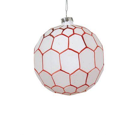 Χριστουγεννιάτικη μπάλα γυάλινη με εξάγωνα Λευκή-Κόκκινη 10cm