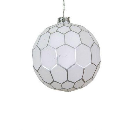 Χριστουγεννιάτικη μπάλα γυάλινη με εξάγωνα Λευκή-Ασημί 10cm