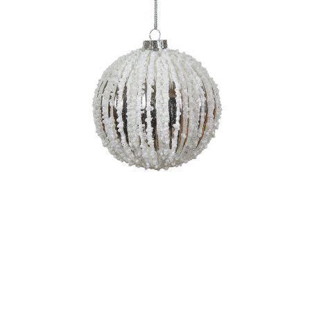 Χριστουγεννιάτικη μπάλα γυάλινη Ασημί-Λευκή 8cm