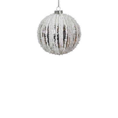 Χριστουγεννιάτικη μπάλα γυάλινη Ασημί-Λευκή 10cm