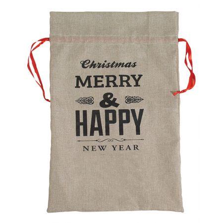 Χριστουγεννιάτικο πουγκί-τσουβάλι MERRY CHRISTMAS 46x71cm