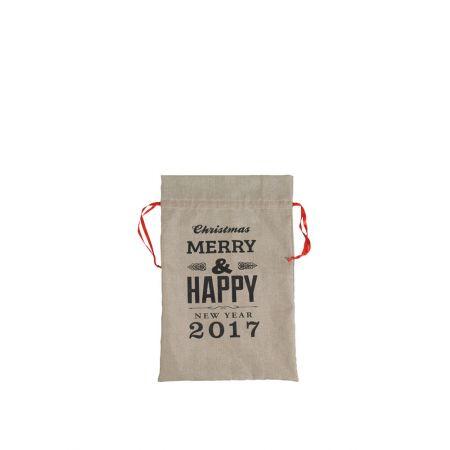 Χριστουγεννιάτικο πουγκί-τσουβάλι Merry Christmas 33x50cm