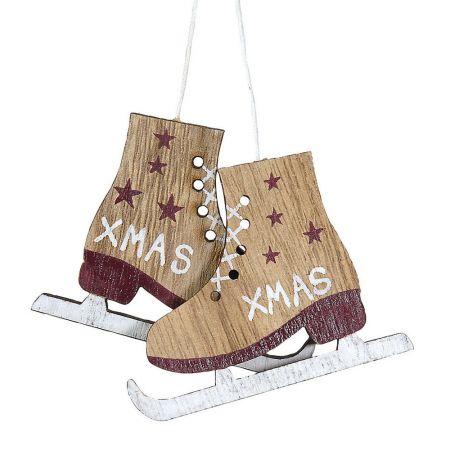 Χριστουγεννιάτικο στολίδι -παγοπέδιλα- από ξύλο 6x8cm