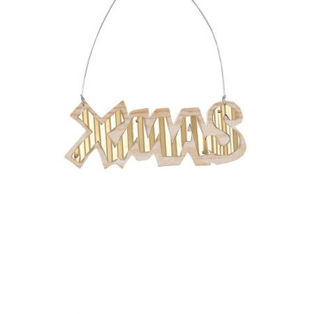 Χριστουγεννιάτικο στολίδι -XMAS- από ξύλο Χρυσό 6x16cm