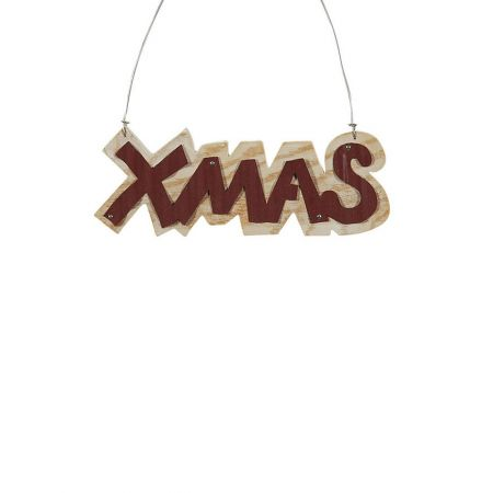 Χριστουγεννιάτικο στολίδι -XMAS- από ξύλο Μπορντό 6x16cm