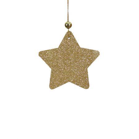 Χριστουγεννιάτικο στολίδι -Αστεράκι- κατασκευασμένο από ξύλο με glitter.