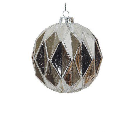 Χριστουγεννιάτικη μπάλα γυάλινη κυψελωτή Aσημί 10cm