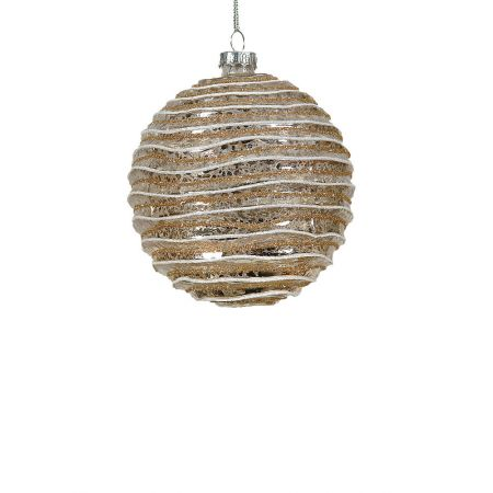 Χριστουγεννιάτικη μπάλα γυάλινη Σαμπανί 8cm