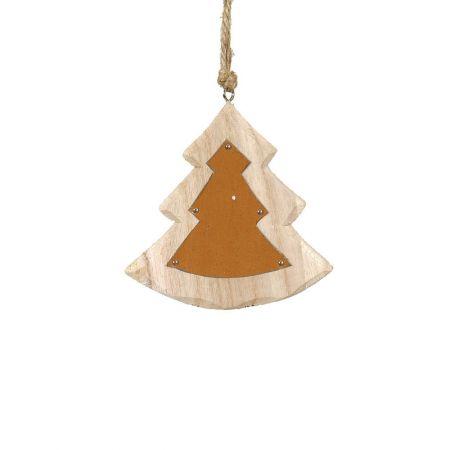 Χριστουγεννιάτικο στολίδι -Δεντράκι- από ξύλο Χρυσό 10x12cm