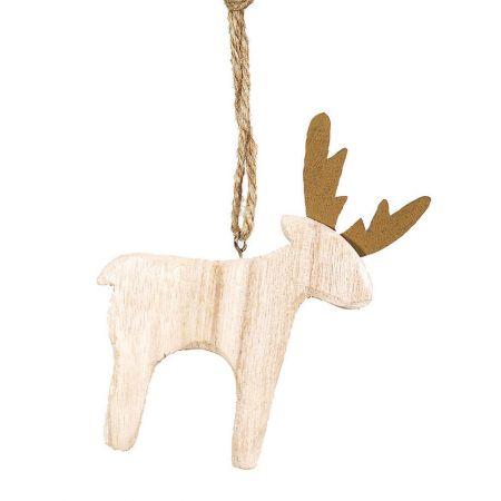 Χριστουγεννιάτικο στολίδι -Τάρανδος- από ξύλο Χρυσό 10x13cm